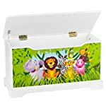 Childrens Storage Bench Child Chest Bench Motif: Jungle animals Toy Storage Box Seat with Storage Space for Toys