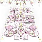 90pcs/set Pink Unicorn Theme Party Disposable Tableware Set Decoration Supplies Banner Hats mask Tablecloth Plates...