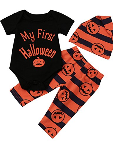 Weant Halloween Kostüm Baby Jungen Mädchen Neugeborenen Kürbis Spielanzug Overall Hose Outfit mit Mütze (6-12 monate, (Für Halloween Kostüme Häkeln Babys)
