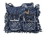 yourlifeyourstyle Jeans Umhängetasche aufgenähte Patches oder Fransen - Maße 30 x 28 cm - Damen Mädchen Teenager Tasche (blau/Fransen)