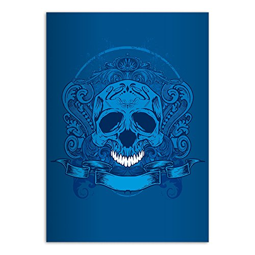 Preisvergleich Produktbild 2 coole DIN A4 Schulhefte, Rechenhefte mit Totenkopf, blau Lineatur 23 (kariertes/rautiertes Heft)