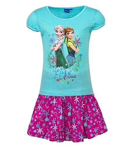 Frozen - Die Eiskönigin T-Shirt und Rock Kollektion 2017 Set 98 104 110 116 122 128 Mädchen Kurzarmshirt Elsa Disney Blau-Fuchsia (98 - 104; (Minion Kleid)