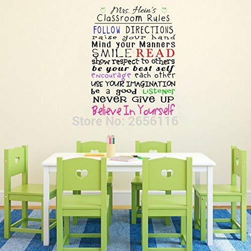 yiyiyaya Personalisierte Klassenzimmerregeln Wandtattoos Benutzerdefiniert Beliebiger Lehrername Folgen Sie den Anweisungen Wörter die Vinyl-Aufkleber für 58 * 75 cm beschriften