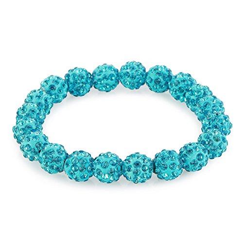 Morella® Damen Armband Perlen mit Zirkoniasteinen elastisch türkis - Türkis-perlen Armband Mit