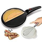 Elektrischer Crêpe Maker, Sunvito Antihaft-Beschichtung Kochfeld EIN/AUS-Schalter Automatische Temperaturregelung, Pfannkuchen, Blintz, Chapati, Tortillas