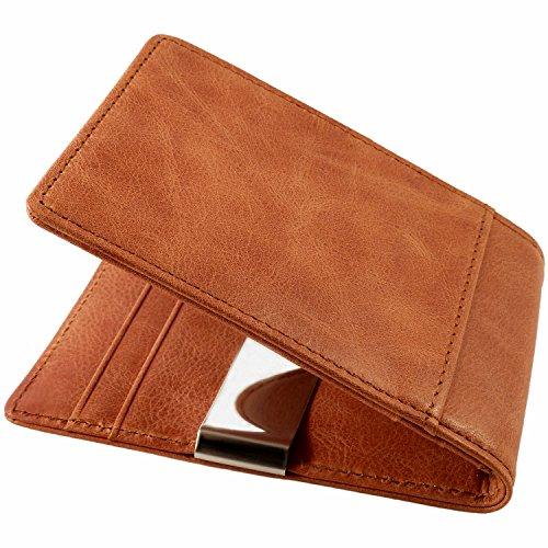 CAUTENA Premium Echtleder Portemonnaie mit Geldklammer als Kartenetui   Geldbörse mit Geldscheinklammer   Brieftasche als Kreditkartenetui mit Geldclip und RFID Schutz   edel und modern (cognac-braun) -
