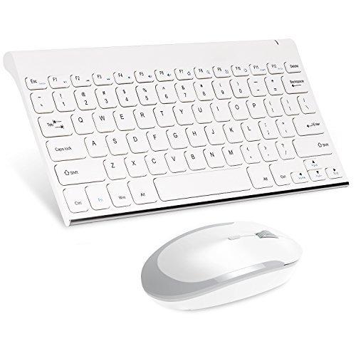 MoKo Slim Wireless Keyboard und Maus Set- schnurlose Tastatur + Maus (2,4GHz, QWERTY, englisches Tastatur Layout, 13Multimedia-Tasten), für Laptop/Desktop (Windows), Weiß