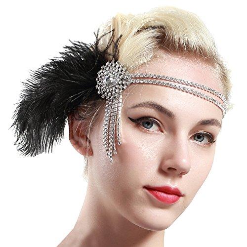 Stirnband 20er Jahre Stil Flapper Haarband Gatsby Stirnband Damen Kostüm Charleston Accessoires (Schwarz) (Schwarzes Flapper Halloween Kostüme)