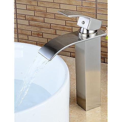 GS~LY Attacco centrale Una manopola Un foro in Nickel spazzolato Lavandino rubinetto del bagno