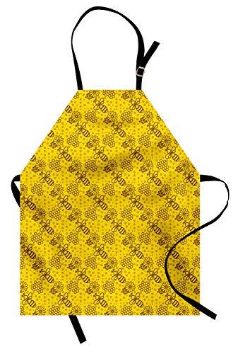 ABAKUHAUS Biene Kochschürze, Muster von Honigbienen wiederholen Hexagon Waben Blütenblätter Formen in Contour Form, Farbfest Höhenverstellbar Waschbar Klarer Digitaldruck, Gelb und ()