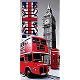 DRAP DE PLAGE LONDRES BUS ANGLAIS SERVIETTE EPONGE VELOURS IMPRIMEE 75x150cm