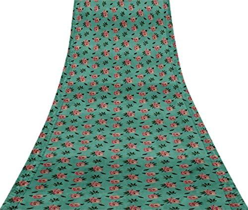 Svasti Blätter & Ranunculus Blumenweinl Silk Sari Light Blue Schneiderei Refurbished Craft Fabric Saree 5 Yard Gebraucht Blue Silk Sari