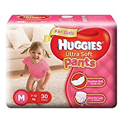 Huggies Ultra Soft Pants Medium Size Premium Diapers for Girls (30 Counts)
