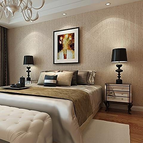 Moderne et simple Solid-colored Uni brossé Fil non tissé papier peint rétro Chambre à coucher Salon TV Fond papier peint, couleur de blé, 10*0.5m