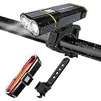 Juego de luces traseras y traseras de bicicleta recargables USB, 2000 lúmenes Lámpara LED Linterna de bicicleta y luz de cola COB - 【Mejora de la base de luces delanteras para bicicletas】 Impermeable con 5 modos de luz para ciclismo de carretera