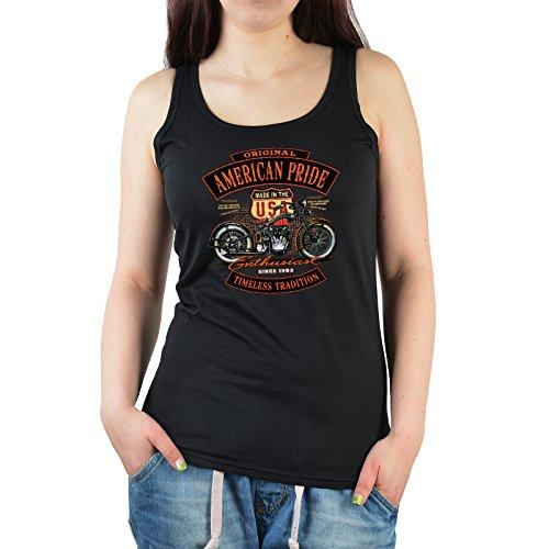 Damen Tanktop schwarz mit coolem Motiv - Original American Pride - USA - Geschenk zum Geburtstag - Girlie Top Schwarz