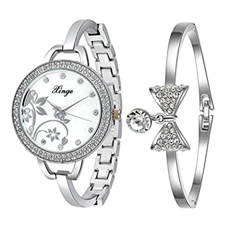 Fulltime(TM) Silver Series Women 388S Rhinestone Bowknot Bangle Watch And Bracelet Set (Silver)
