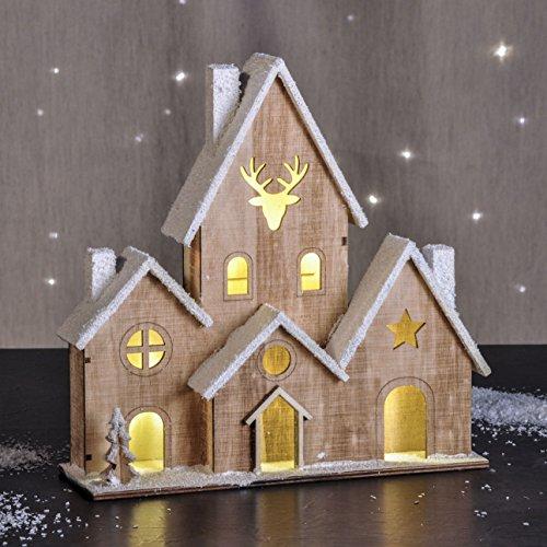 LED Holz Haus beleuchtet - Tischdeko mit 6 Lichtern - Weihnachtsdeko Fensterdeko