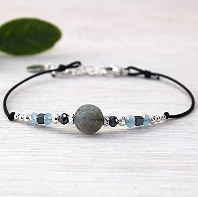 bracelet cordon labradorite facettée et perles argent 925