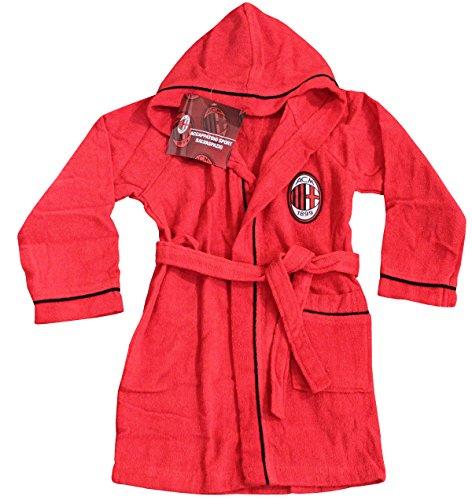 Bademantel mit Kapuze offizielle AC Milan TG S M L XL XXL rot schwarz 100% Micro Schwamm Reine Baumwolle Herren XL - 52/54 -