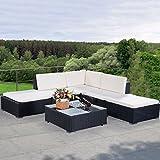 COSTWAY 6PCS Garden Corner Sofa Set Rattan Furniture PE Wicker Steel Fram Patio Indoor Outdoor