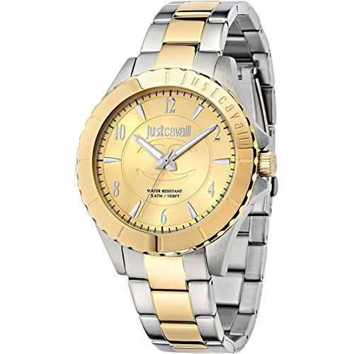 Just Cavalli Men's 43mm Two Tone Steel Bracelet Steel Case Quartz Gold-Tone Dial Analog Watch R7253529002