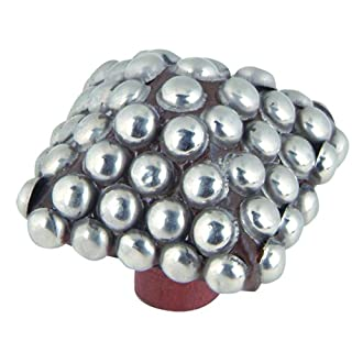 Atlas Homewares 3100 2-Inch Square Beaded Knob, Silver