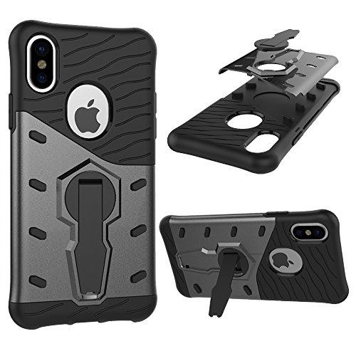 Meimeiwu Armatura Custodia Cover Doppio Strato TPU + PC Antiurto Protezione Goccia Difensore Custodia Protettiva Case per iPhone 8 - Blu Nero