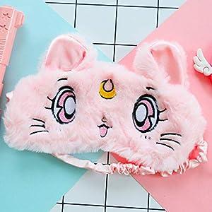 GPL Professionelle Katzen-Schlafbrille, atmungsaktiv, für Frauen und Herren, Cartoon-Schattierung, Eiskatze aus Plüsch