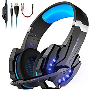 Gaming Headset, KOTION EACH PC Headphones with Mic LED Light Noise Cancelling & Volume Control for PS3, PS4, PC, Xbox One, Xbox 360, Plug & Play for Various Games