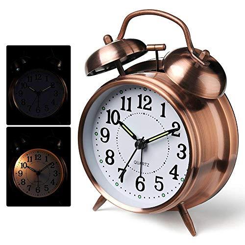 FOONEE Retro-Alt-Fashioned Ruhiger Doppelglocken-Wecker, Quarzuhrwerk, mit lautem Alarm und Hintergrundbeleuchtung, tolles Geschenk für schwere Schläfer Bronze Antik (Alarm-zen)