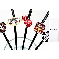 10 x Coco&Bo Fabulous Las Vegas - Bendy Cocktail Straws - Casino Poker Night Card Party / James Bond Theme Decorations by Coco & Bo