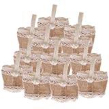 Generic Pack of 12 Small Rustic Hessian Burlap Candy Bags Handle Wedding Christmas Gift Bag