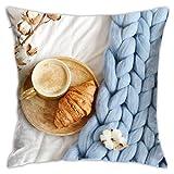 Osmykqe Fodera per Cuscino Tazza Cappuccino Cornetto Blu Pastello Gigante Fodera per Cuscino Fodera per Cuscino Decorativo per la casa