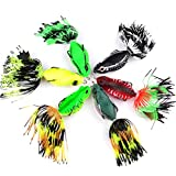 #5: Ocamo Soft Bait Frog Fishing Lures with Tassel Tail Crankbaits for Bass Snakehead Random Colors 6.35cm/20g