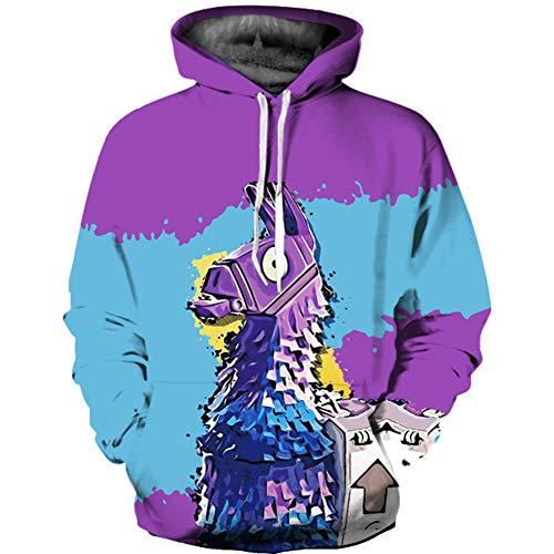 YAN-xUE Men ' S Hood Sweatshirt, Street Chic with Comfortable Pockets Casual Hoodie-Cartoon Purple with Pockets XXXL Holiday Daily,7,L