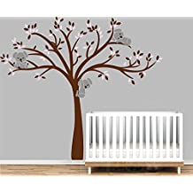 Masterly Árbol de familia koala pared adhesivos vinilo de niños Guardería adhesivo decorativo para pared, diseño de árbol, sin marcos de fotos, vinilo, Custom (White Yellow)