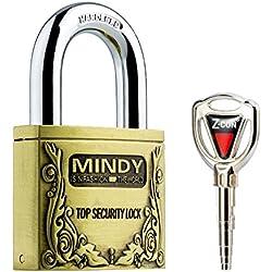Mindy Anti-Theft Hard Steel Keyed Padlocks High Security Bronze Vintage Locks with Keys A4-40 by Mindy