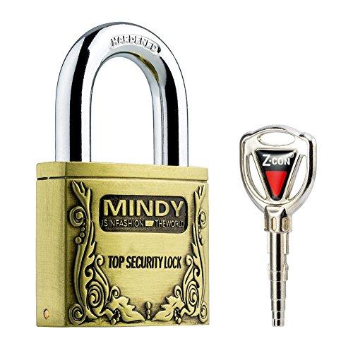 Mindy antifurto rigida in acciaio A4Lucchetti di alta sicurezza Bronzo Vintage Serrature con chiavi, Bronzo