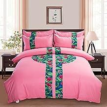 MeMoreCool elegante estampado étnico Juego de ropa de cama, diseño a la piel suave, juego de funda nórdica sábana, 3piezas, azul, Twin, algodón, style2 and flat, doble