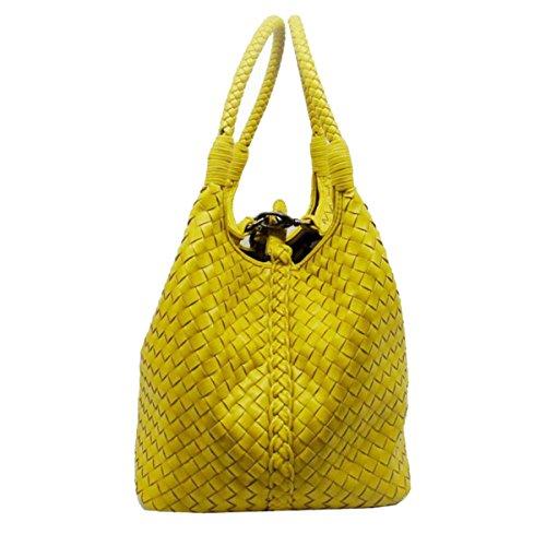 Hand-Woven-Taschen Vertikalschnitt Glamour Handtasche Wannenbeutel Multicolor Damen Mode Handtaschen Kleine Luxus Atmosphäre Handtasche Yellow