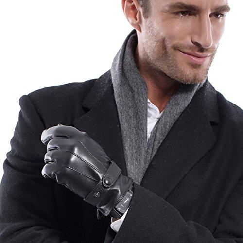 Matsu-Herren Winter Super Warm lambksin Leder Handschuhe M2011 Black-TouchScreen (Leder-wolle-handschuhe)