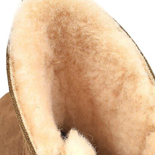 Oasap Femme Mode Latéral Bouton Décor Hiver Bottes Fourées Grey