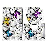Yililay 3D Piedra Impreso WC 3 Piezas del Amortiguador de la Estera del Piso de Anti Slip Absorción de Agua Baño de alfombras