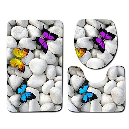 Yililay 3D Piedra Impreso WC 3 Piezas Amortiguador