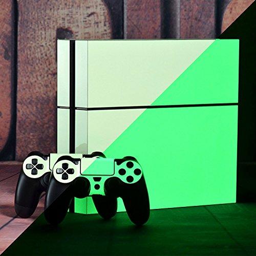 eXtremeRate® Glow in the Dark Console Controller Aufkleber Skin Decal Sets für Dualshock 4 PS4 Playstation 4 mit 2 Light Bar Aufkleber (4x4-licht Bar)