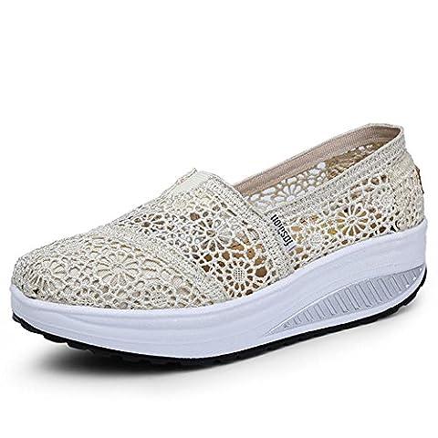 Frauen / Damen Casual Platform Schuhe Sommer Lace Air Kissen High-heeled Schuhe Vintage Mode Breathable und Leichtgewicht , beige ,