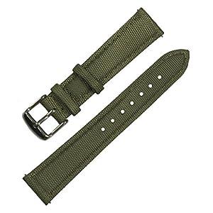 Ersatz-Uhrband aus Nylonsegeltuch mit Unterseite aus Narbenleder und Edelstahl-Schnellverschluss.