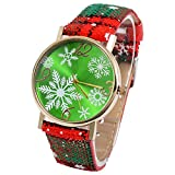 Naisicatar 1PC Weihnachten-Uhr-Quarz-Armbanduhr mit Gelegenheitssnowflake-Gurt-Armbanduhr Mädchen (Grün) Weihnachten Stil