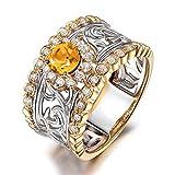 Epinki Plata de Ley 925 Anillo único Mujeres Anillo Solitario Plata Oro con Amarillo óxido de Circonio